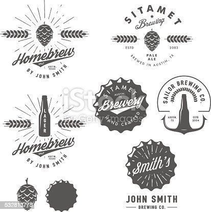 Vintage craft beer brewery emblems, labels and design elements.