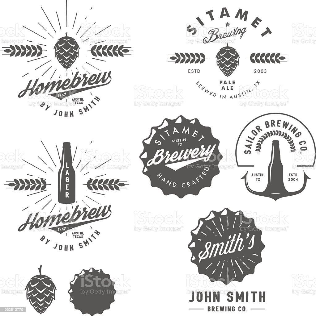 Birrificio birra Vintage emblemi, etichette ed elementi di design - illustrazione arte vettoriale