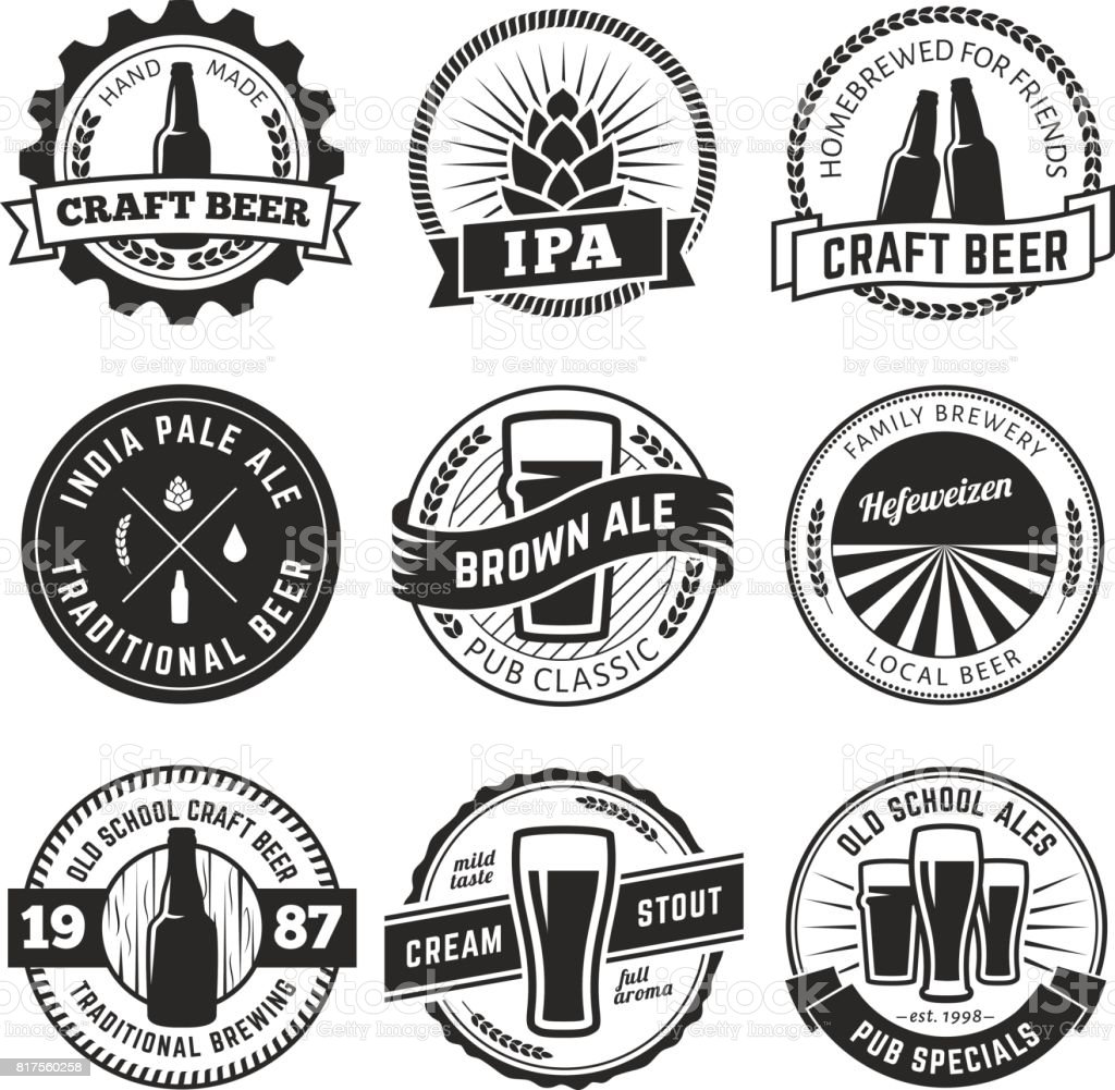Vintage craft beer s vector art illustration