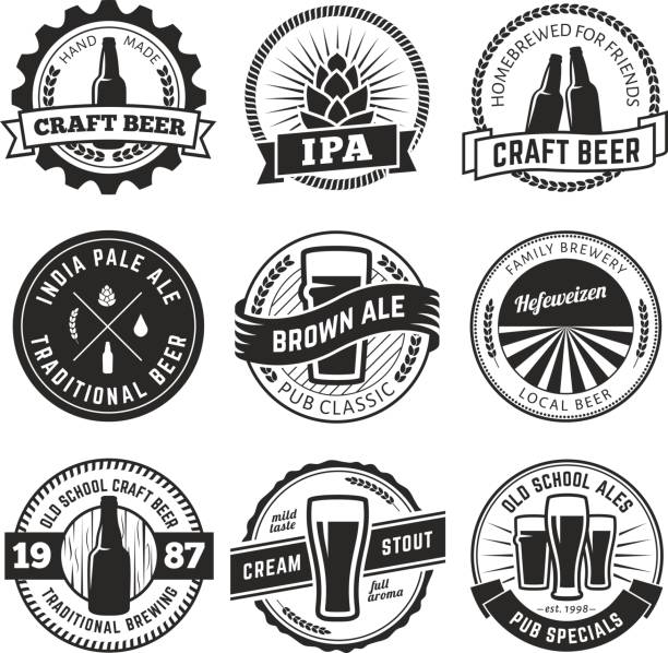 vintage craft beer s - jumping stock illustrations
