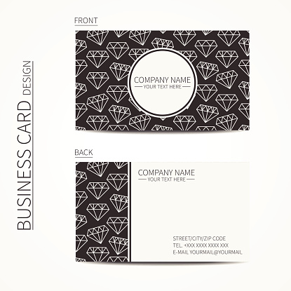 Vintage creative simple  business card template with hipster diamond.