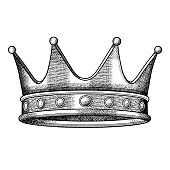 istock Vintage crown. Hand draw graphic. 1193230490
