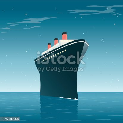 A hand drawn illustration of a vintage cruise ship on a star lit ocean. This is an editable EPS 10 vector illustration with with transparencies and gradients. It is organised into easy to edit layers and also includes a high resolution JPEG.