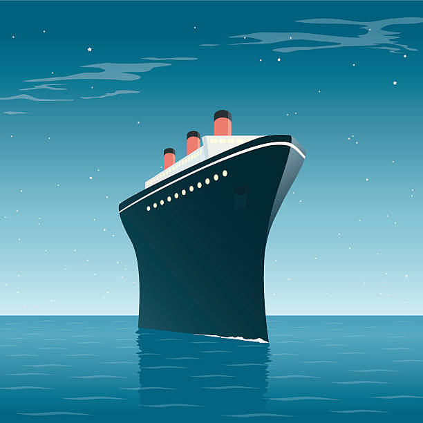 Vintage Cruise Ship Night vector art illustration