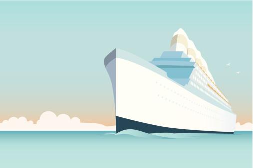 Vintage Cruise Ship vector Illustration