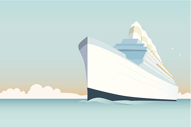 Vintage Cruise Ship vector Illustration Retro style white cruise ship on the ocean cruise vacation stock illustrations