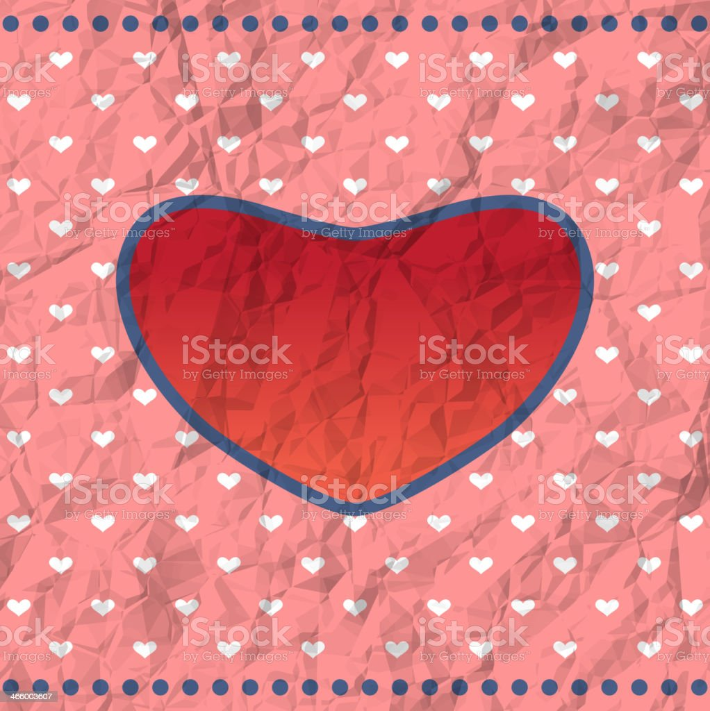 Vintage crumpled heart frame royalty-free stock vector art