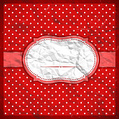 Vintage crumpled red frame with polka dots