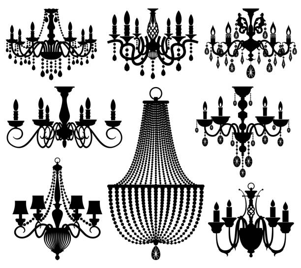 Vintage Crystal Chandeliers Vector Silhouettes Isolated On White Art Illustration