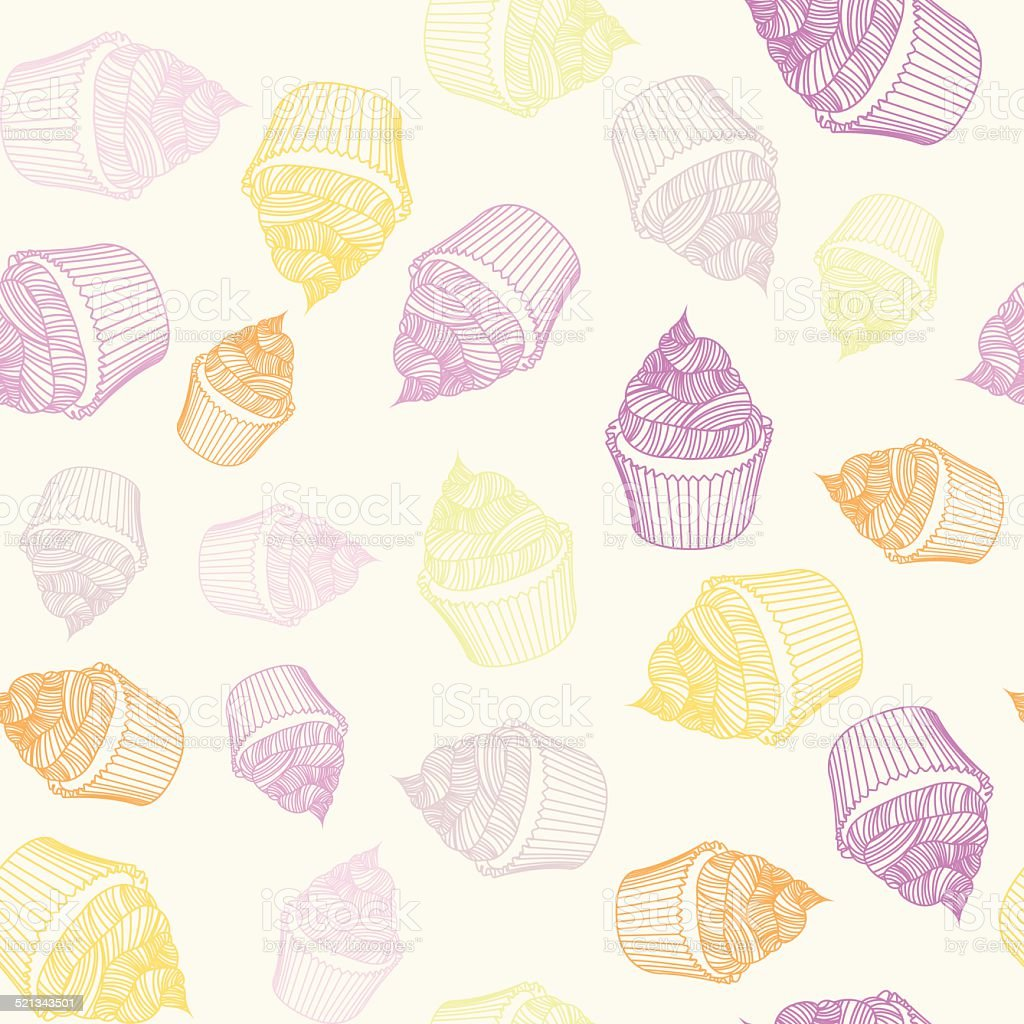 Vintage Cupcake With Chalks Sketches Seamless Pattern Royalty Free