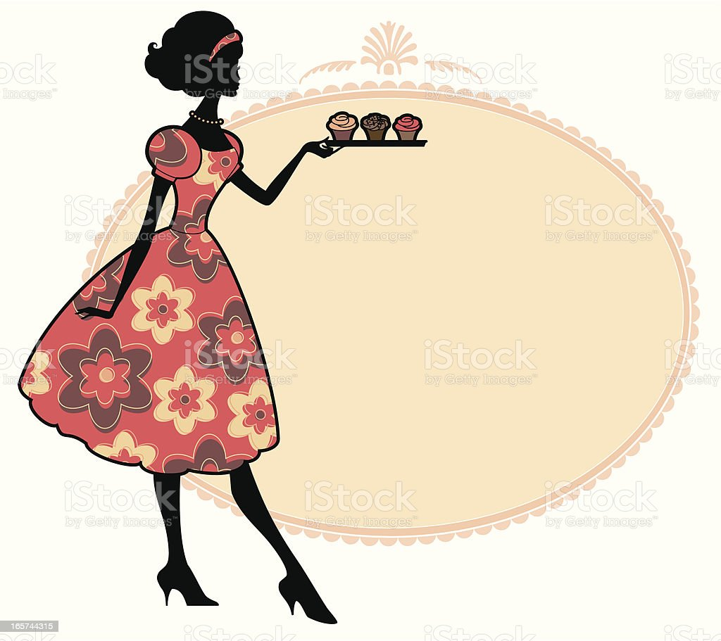 Vintage Cupcakes vector art illustration