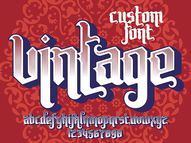 illustrations, cliparts, dessins animés et icônes de vintage custom font - polices de tatouage