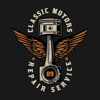 Vintage Custom Motorcycle piston emblem