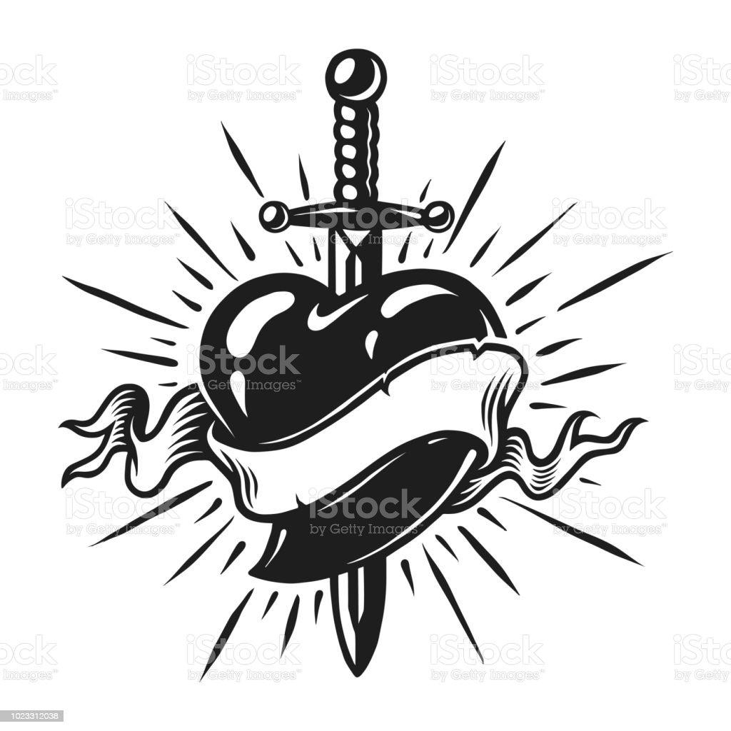 Vintage dagger in heart concept vector art illustration