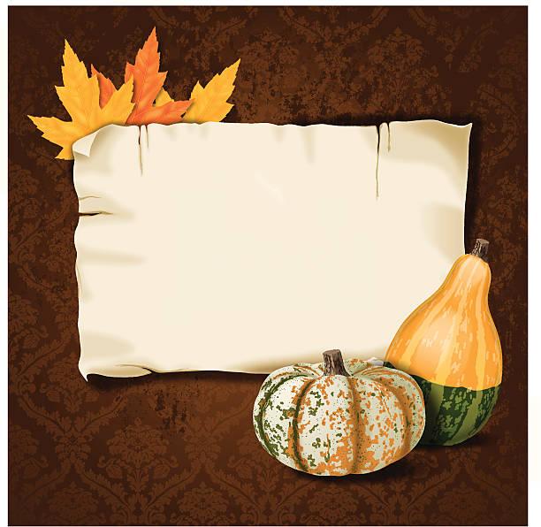 vintage damast hintergrund mit banner, herbst und blätter gourds - flaschenkürbis stock-grafiken, -clipart, -cartoons und -symbole