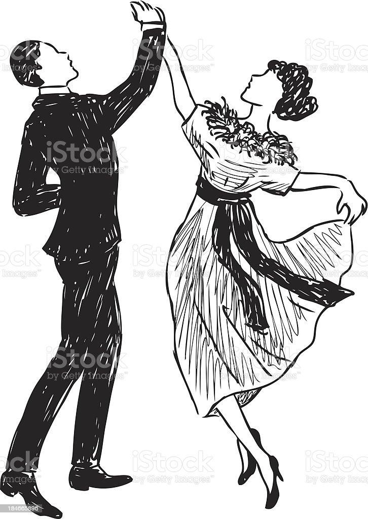 vintage dancing couple vector art illustration