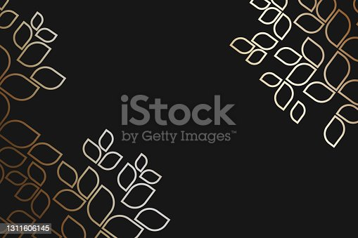 istock Vintage dark golden card with seamless ornament at background. 1311606145