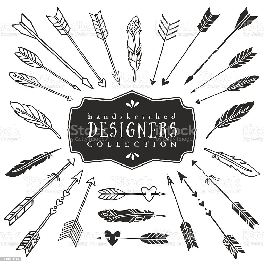 Vintage Decorative Arrows And Feathers Collection Stock ...