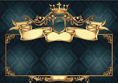 Golden retro emblem & frame on seamless background, layered vector artwork