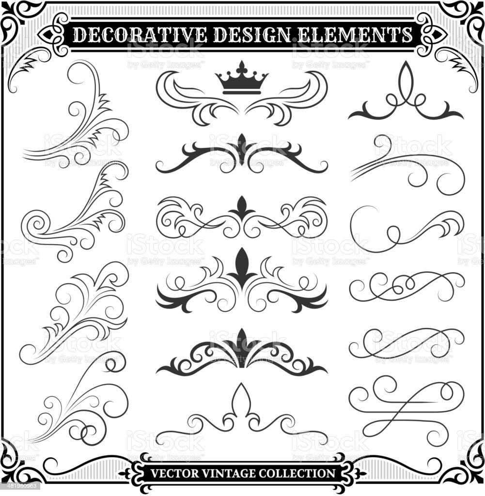Vintage Decorative Design Elements Collection royalty-free vintage decorative design elements collection stock vector art & more images of abstract