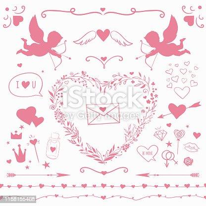 istock Vintage decorative elements for Valentine's Day, vector romantic decorations 1158155468