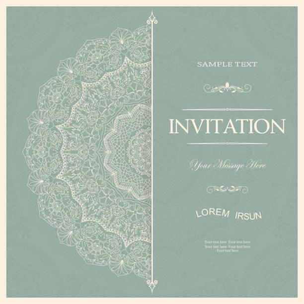 vintage decorative elements. wedding invitations or greeting cards with floral mandala. - wedding invitation stock illustrations, clip art, cartoons, & icons