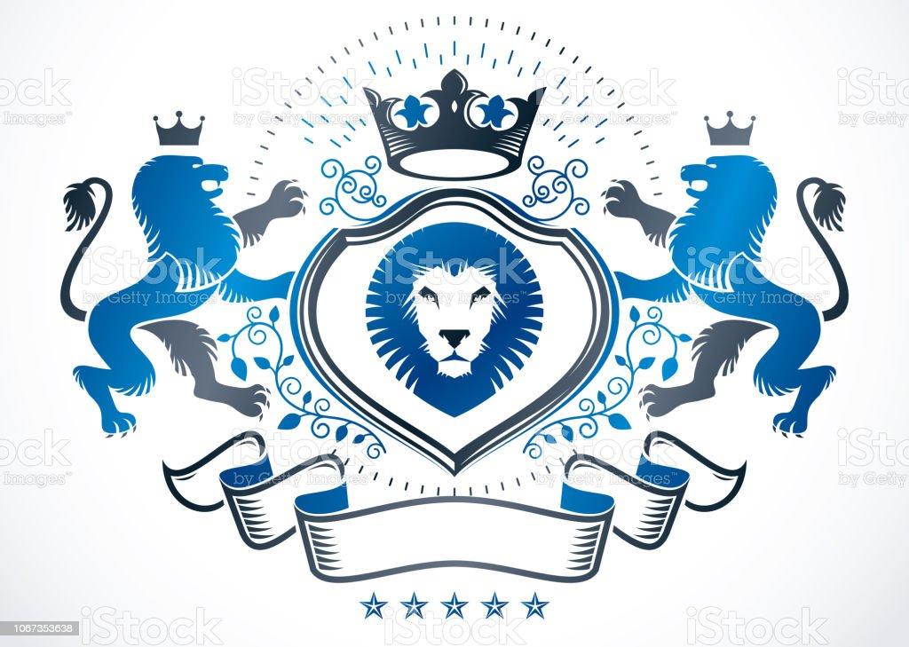 Vintage emblema decorativa composto com ilustração leão selvagem e coroa imperial, vector heráldica. - ilustração de arte em vetor