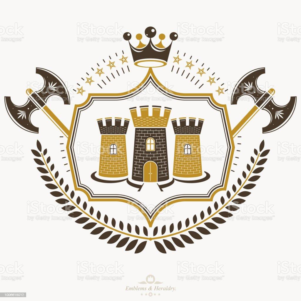 Emblema Vintage decorativo composição, heraldic vetor. - ilustração de arte em vetor