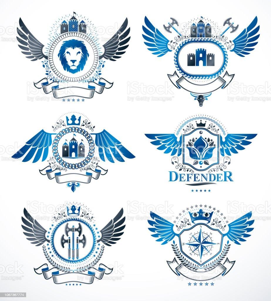 Composições de antigos emblemas decorativos, vetores heráldicos. Coleção de ilustrações simbólicas elegante de alta qualidade, conjunto de vetor. - ilustração de arte em vetor