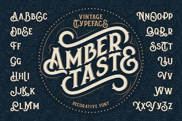 "vintage decorative font named ""amber taste"" - retro and vintage frames stock illustrations, clip art, cartoons, & icons"