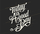 """Vintage decorative font named """"Today Is A Good Day"""" with label design and background pattern"""