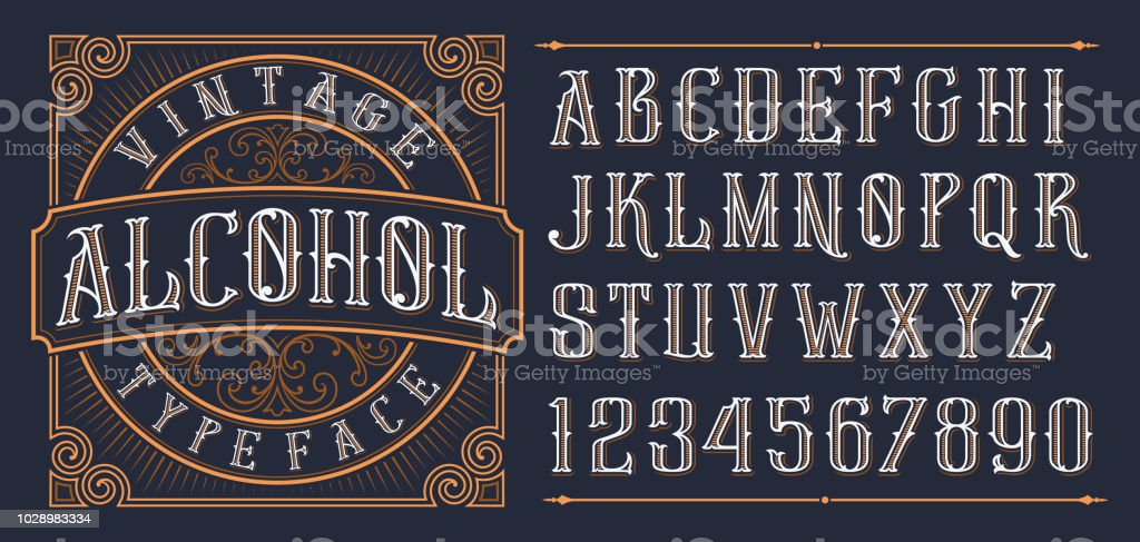 Vintage decorative font. vector art illustration