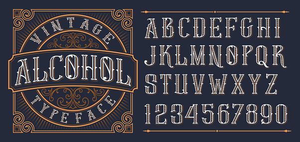 Vintage Decorative Font - Stockowe grafiki wektorowe i więcej obrazów Alfabet