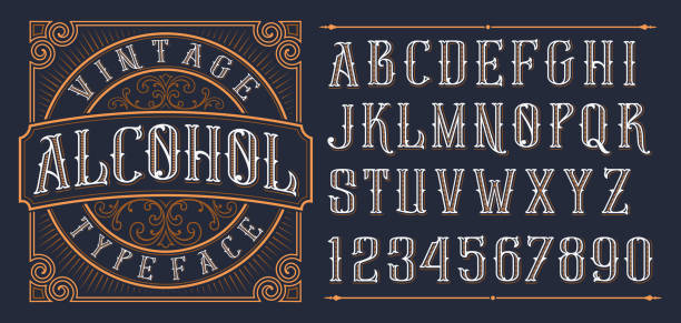 Vintage decorative font. Vintage decorative font. Lettering design in retro style with label. Perfect for alcohol labels, logos, shops and many other. beer stock illustrations