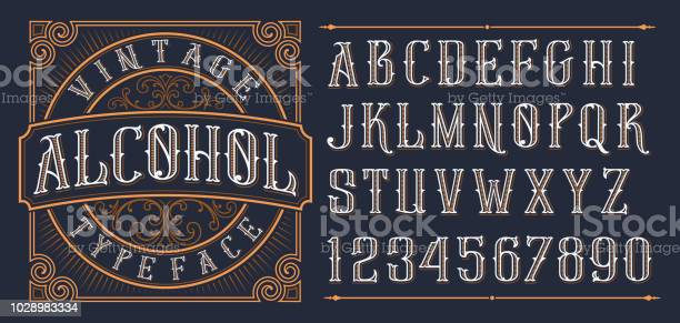 Vintage Decorative Font — стоковая векторная графика и другие изображения на тему Алкоголь - напиток