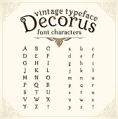 Vintage decorative font with shadow called 'Decorus', translation from Latin 'Beautiful'