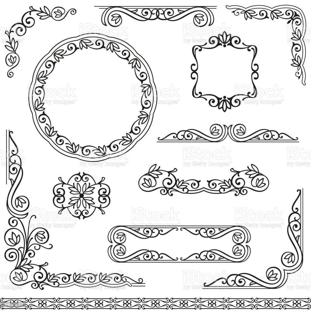 Ilustración de Marcos Decorativos Vintage De Diseño Conjunto De ...