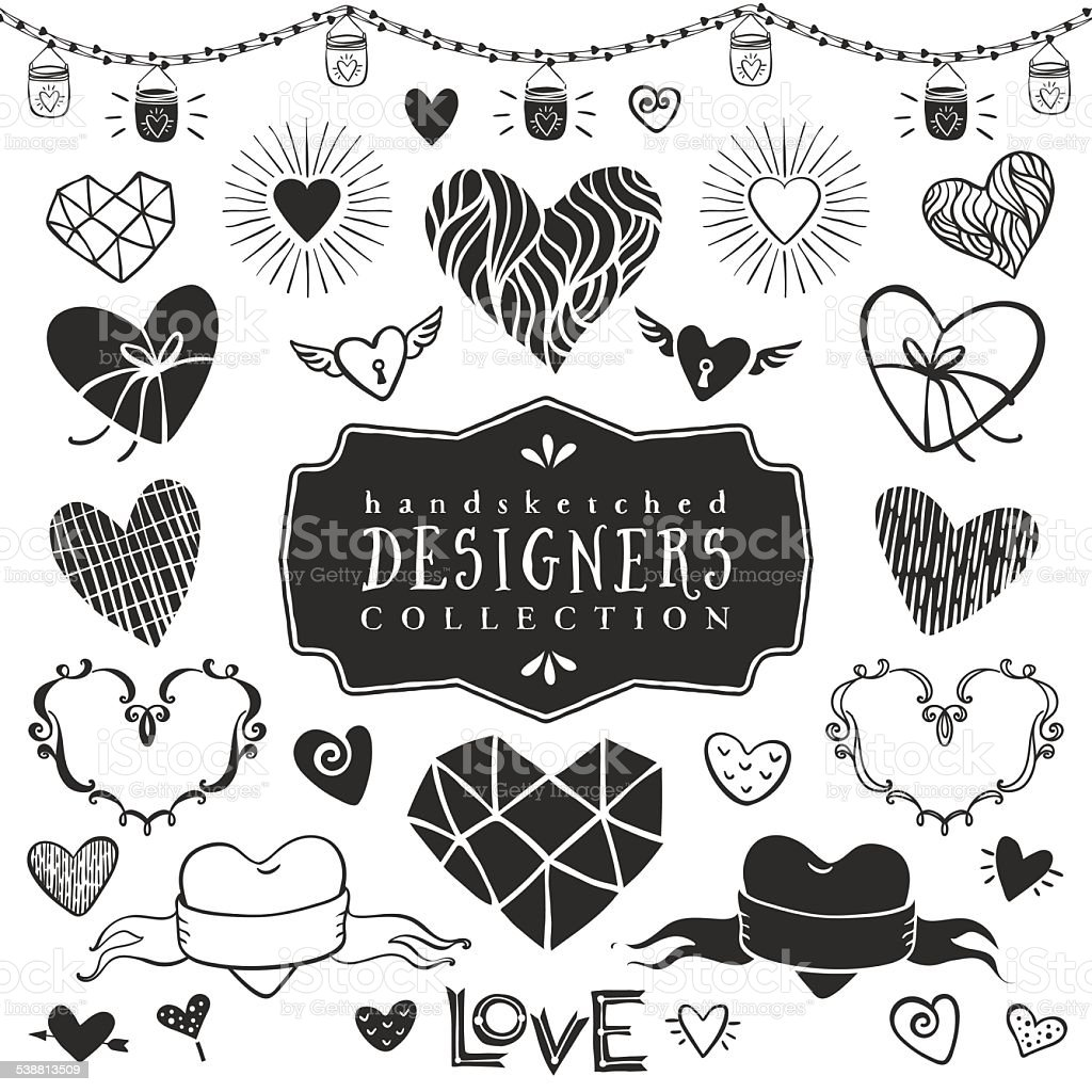 Vintage decorative hearts collection. vector art illustration