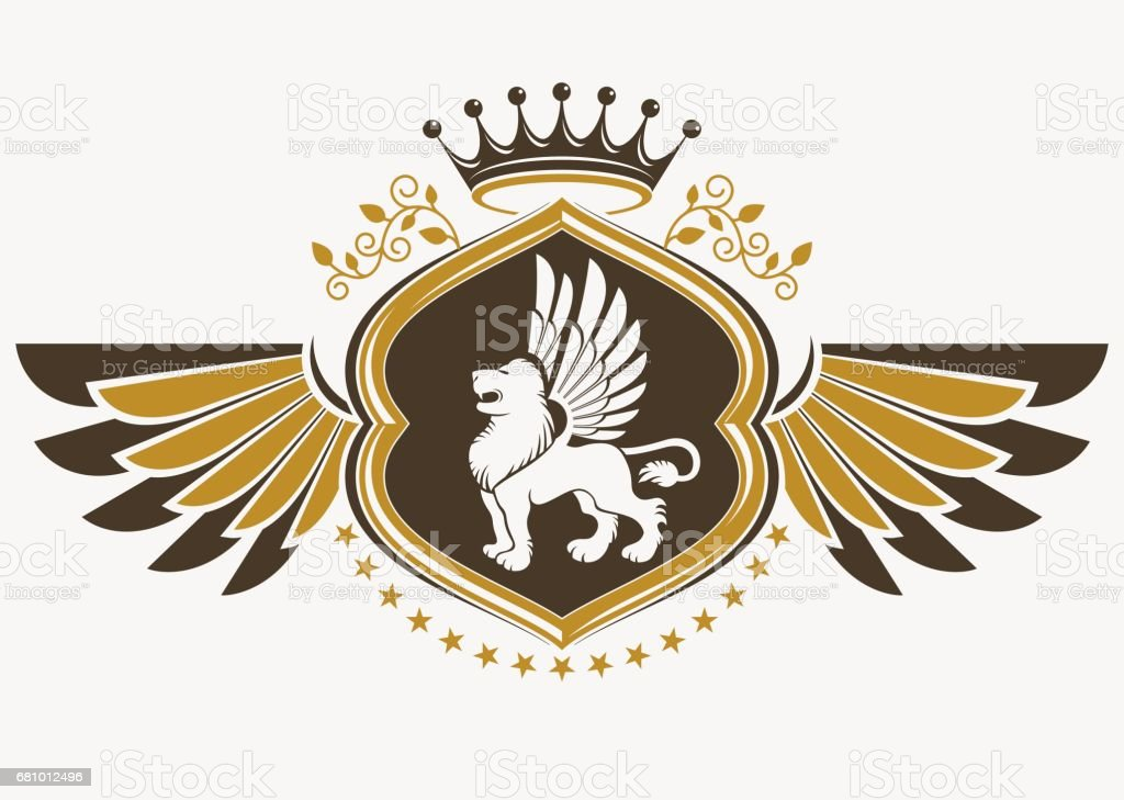 Vintage decorative heraldic vector emblem composed with eagle wings, wild lion illustration and royal crown royalty-free vintage decorative heraldic vector emblem composed with eagle wings wild lion illustration and royal crown stock vector art & more images of animal