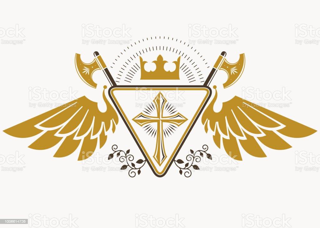Vintage decorativo heráldico vector brasão de armas compostas com machados, Cruz religiosa cristã e coroa real - ilustração de arte em vetor