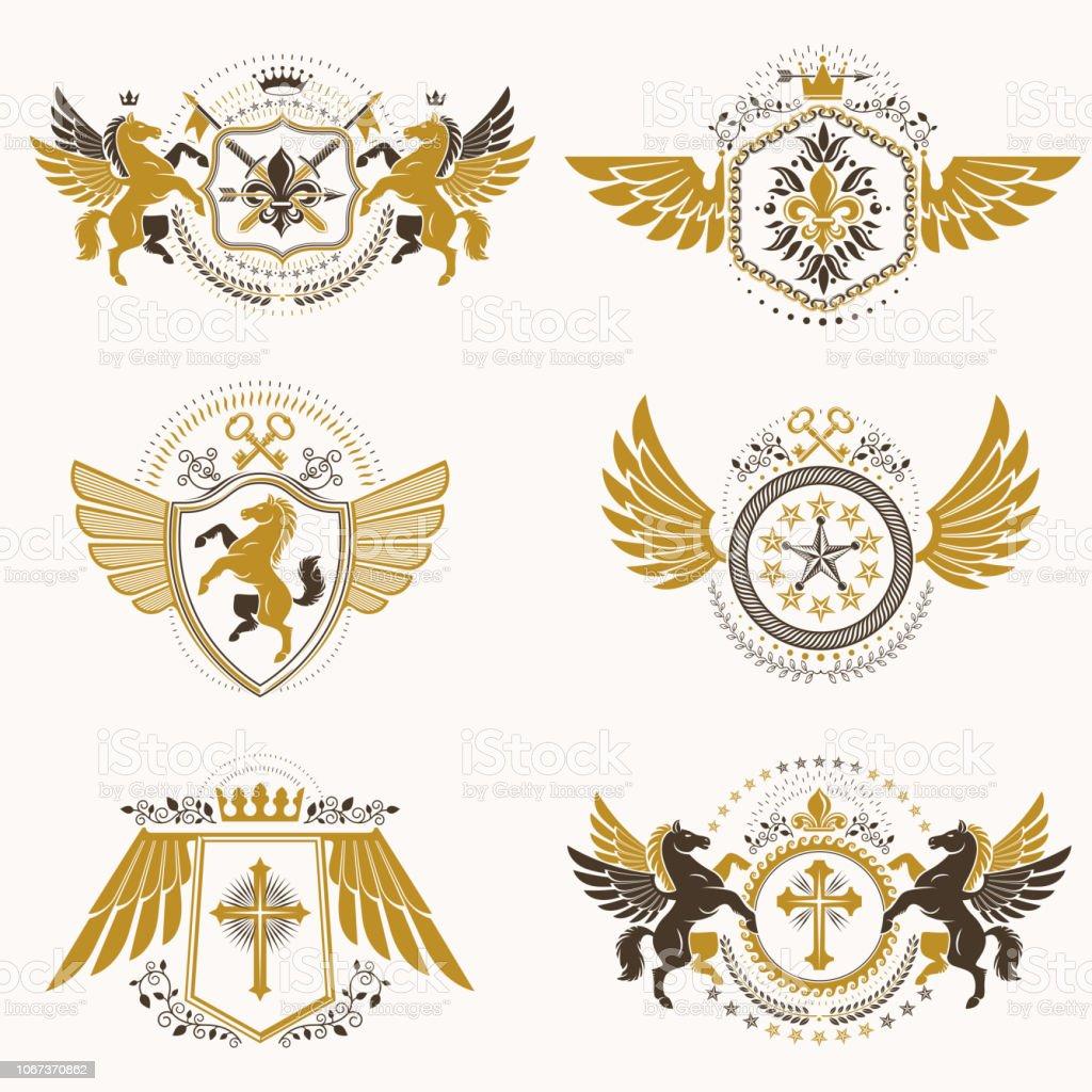 Emblemas vintage decorativo heráldico vetor composto com elementos como asas de águia, cruzes religiosas, Arsenal e castelos medievais, os animais. Coleção de ilustrações simbólicas com classe. - ilustração de arte em vetor