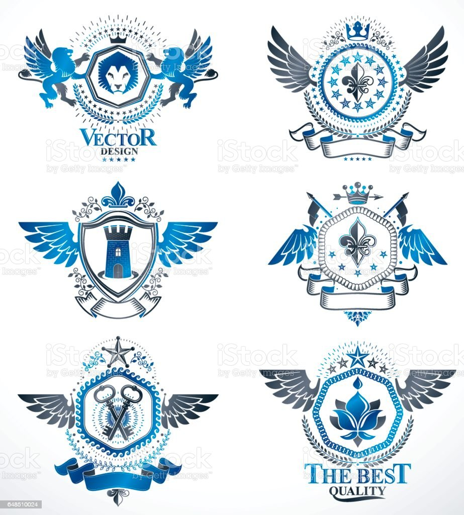 Vintage decorative heraldic vector emblems composed with elements vintage decorative heraldic vector emblems composed with elements like eagle wings religious crosses armory buycottarizona
