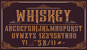 istock Vintage decorative typeface on dark background 1205568090