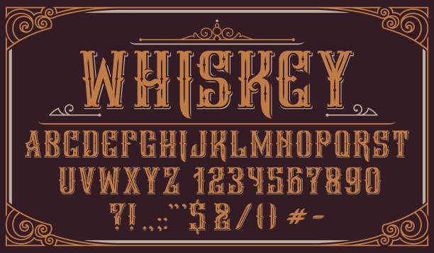 Vintage decorative typeface on dark background Vintage decorative typeface. Perfect for alcohol labels, emblems, shops,headlines, posters and many other uses. wild west stock illustrations