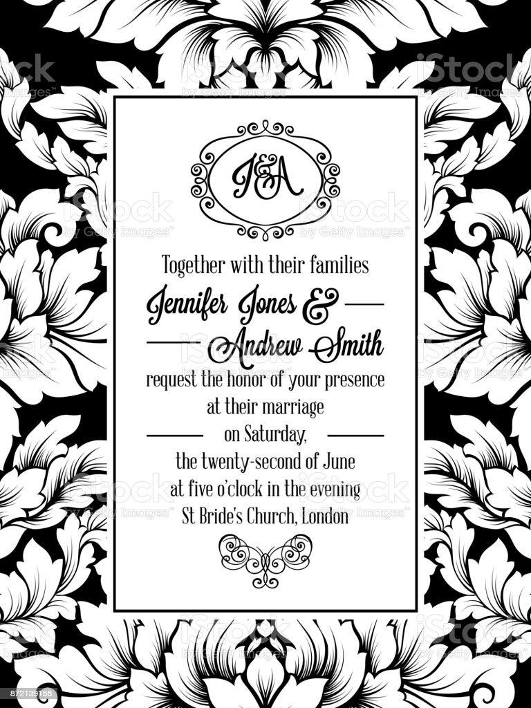 Vintage Delicate Formal Invitation Card Stock Illustration