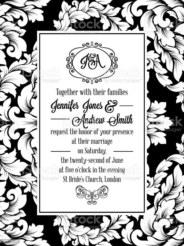 Vintage Delicate Formal Invitation Card Stock Illustration Download Image Now