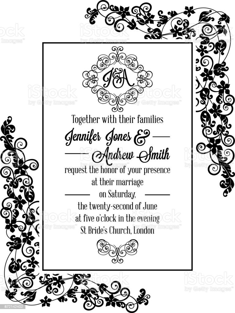 Ilustración De Tarjeta De Invitación Formal Delicado Vintage