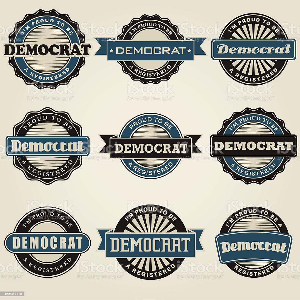 Vintage Democrat Labels Icon Set royalty-free stock vector art
