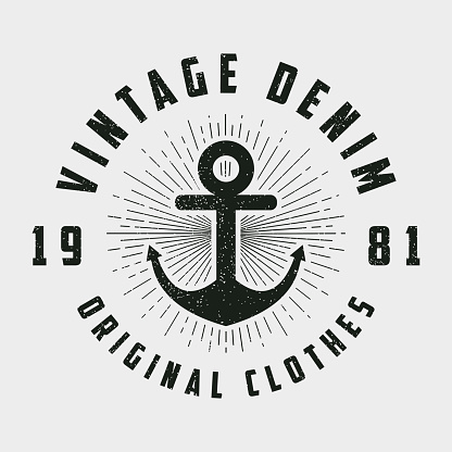 Vintage denim print for t-shirt, original clothes design with anchor and line sunburst. Retro hipster style logo for apparel. Vector