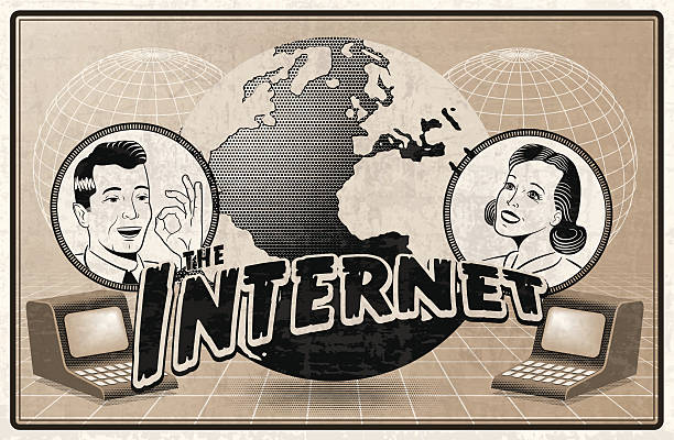 Vintage depiction of the Internet An imaginary anachronistic advertisement for the internet. online dating stock illustrations